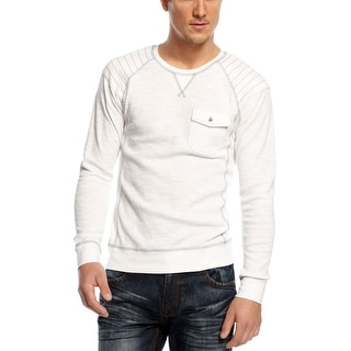 INC International Concepts Mens White Cotton Thermal Crewneck Pullover Sweater