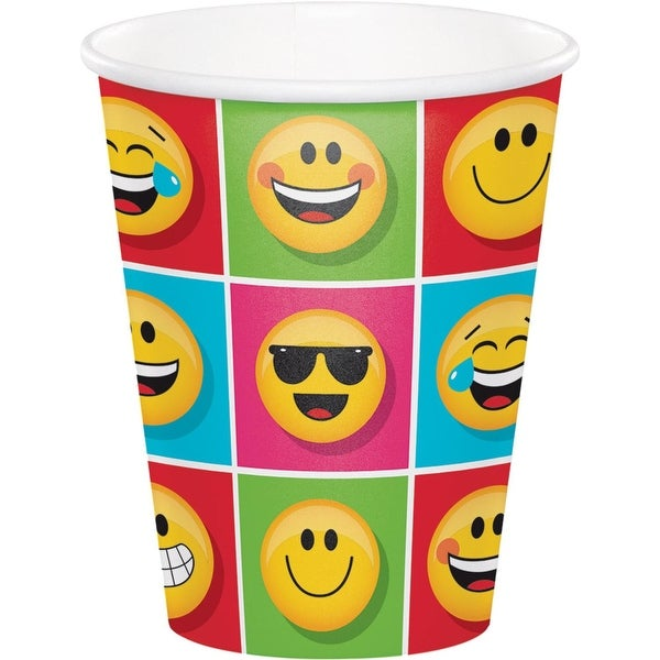 "Club Pack of 96 Yellow and Red ""Show Your Emojis"" Hot Cold Cups 5.6"""