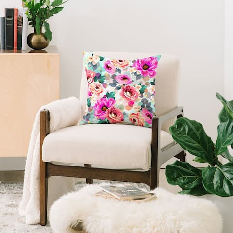 Marta Barragan Camarasa Abstract Geometrical Flowers Throw Pillow