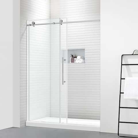"""FELYL 60"""" W × 76"""" H Single Sliding Frameless Shower Door with Soft Closing Function and Heat Soaking Process"""