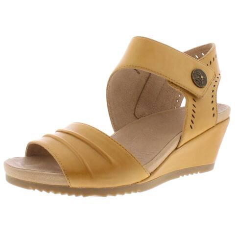 Earth Womens Attaler Barbados Wedge Sandals Faux Leather Ankle Strap - Suntan - 8.5 Medium (B,M)