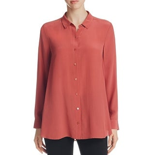 Eileen Fisher Womens Petites Button-Down Top Silk Crepe