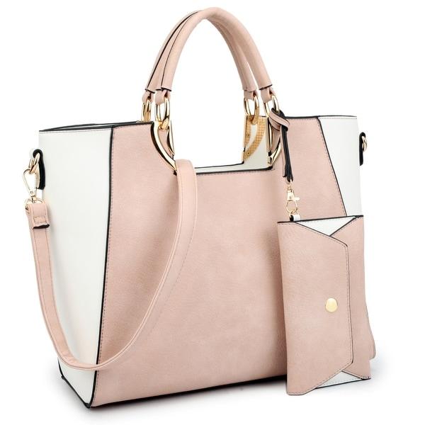 Dasein Women  x27 s Fashion Designer Color Block Satchel Tote Shoulder Bag  Handbag Purse ac2e6411e2075