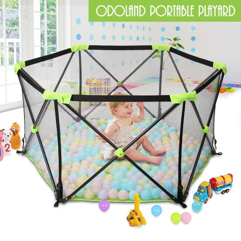 """Odoland Portable Playard Play Pen for Infants and Babies - Lightweight - 7'9"""" x 10'10"""""""