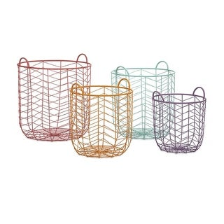Set of 4 Pastel Cheveron Wired Metal Storage Baskets - 20.25""