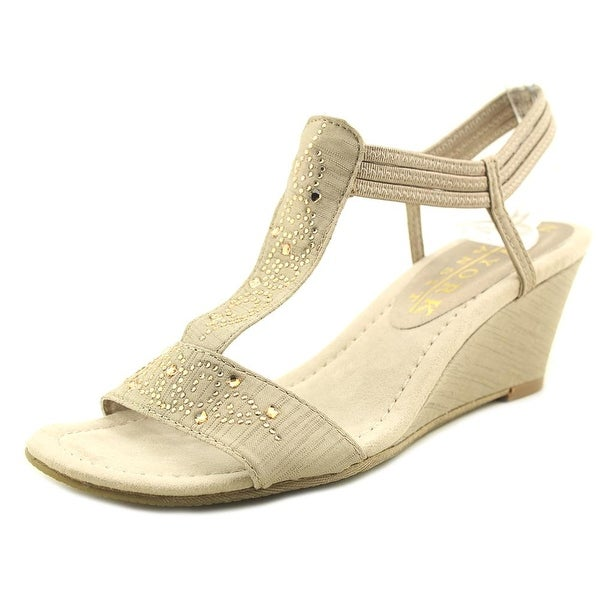 New York Transit Got It All Women Open Toe Canvas Tan Wedge Sandal