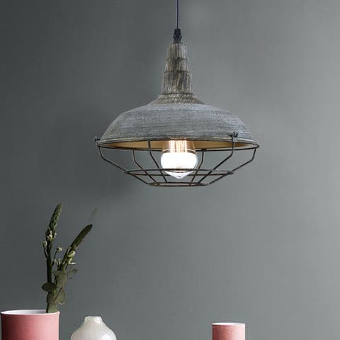 Industrial Nautical Barn Metal Wire Caged Pendant Light Fixture, Iron Cage Shade in Distressed Finish