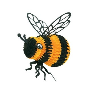 """Pack of 6 Black and Yellow Honeycomb Bumble Bee Hanging Party Decorations 18"""""""