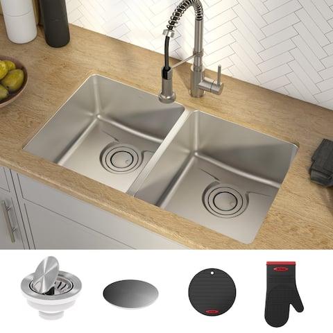 KRAUS Dex Stainless Steel 33 inch 50/50 Undermount Kitchen Bar Sink