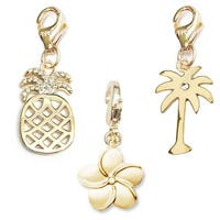Julieta Jewelry Flower, Pineapple, Palm Tree 14k Gold Over Sterling Silver Clip-On Charm Set