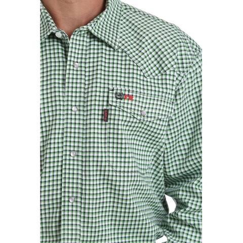 Cinch Work Shirt Men Plaid L/S Flame Resistant Snap Green