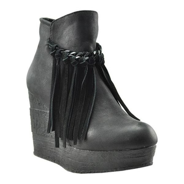 6c4ff2a1ead Shop Sbicca Women s Zepp Platform Wedge Bootie Black Faux Leather - On Sale  - Free Shipping Today - Overstock - 12093654