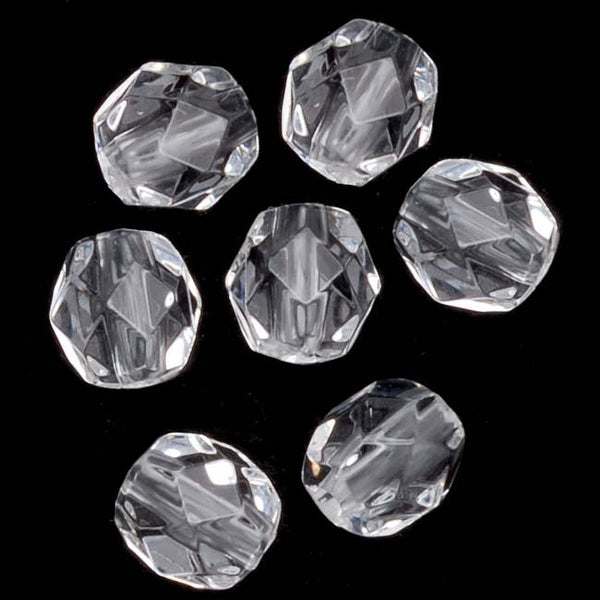 Acrylic Faceted Round Beads Clear 6mm (72)