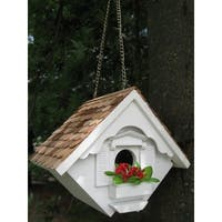 "8"" Fully Functional White Cottage Outdoor Garden Birdhouse"