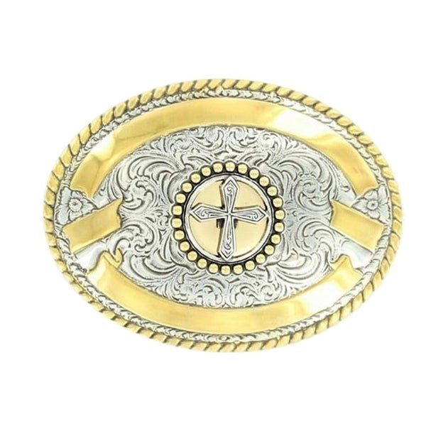 Crumrine Western Belt Buckle Womens Cross Gold Scroll Silver - 3 1/2 x 2 3/4