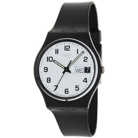 a25f425fc39 Swatch Men s Irony Black Rubber Swiss Quartz Fashion Watch
