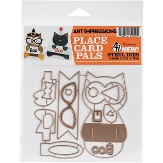 Cat & Owl Placecard Set-Art Impressions Die