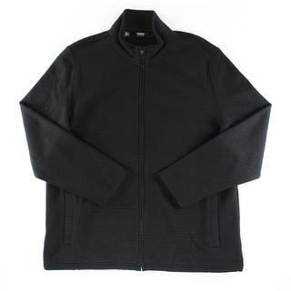 Alfani NEW Solid Black Mens Size 2XL Ribbed Front Full-Zip Jacket