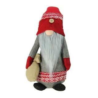 "25"" Plush Red and Gray Nordic Santa Christmas Gnome with Burlap Sack Tabletop Figure"