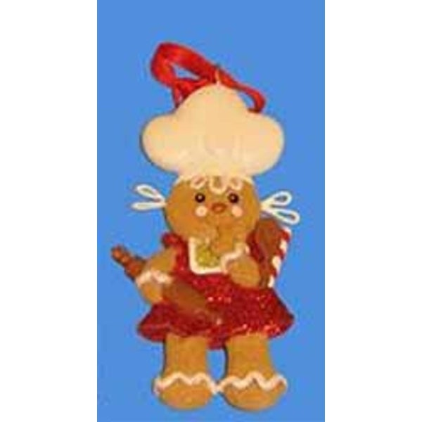 """Gingerbread Kisses Cookie Girl with Chef Hat Christmas Ornament 4"""""""