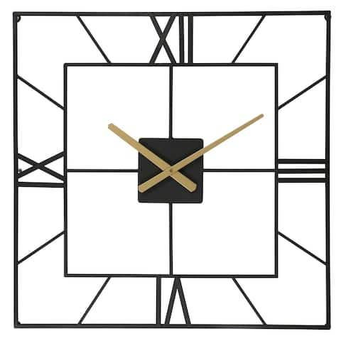 25 Inch Large Square Black Metal Wall Clock Battery Operated - 25*1.38*25.02