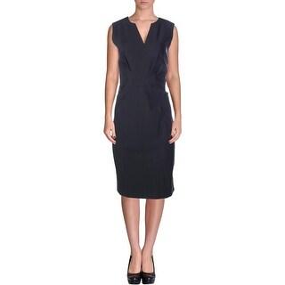Elie Tahari Womens Vernon V-Neck Sleeveless Wear to Work Dress