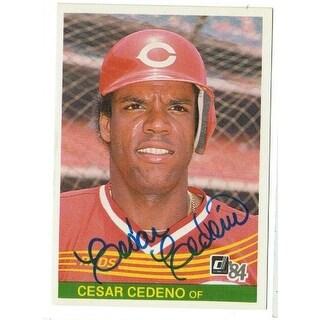 Cesar Cedeno Cincinnati Reds Autographed 1984 Donruss Card