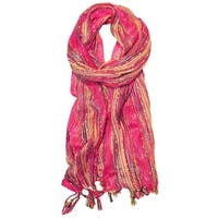 Long BoHo Gauze Scarf MULTI Stripe Slubby Lurex Metallic