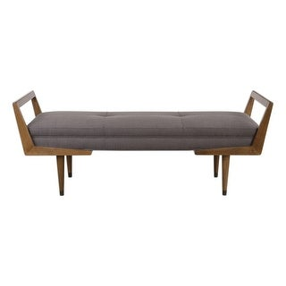 """Uttermost 23388 Waylon 59"""" Wide Wood Bench with Fabric Upholstery by - Smooth Oak / Gray"""