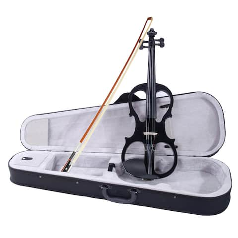 4/4 Electric Silent Violin Case Bow Rosin Headphone Connecting