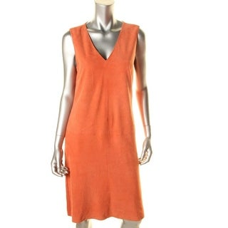 Ralph Lauren Womens Casual Dress Suede Front Knit Back - l