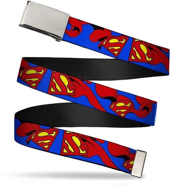 Blank Chrome Buckle Superman Shield W Cape Webbing Web Belt