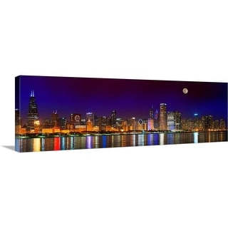 """""""Chicago skyline with Cubs World Series lights night, Moonrise"""" Canvas Wall Art"""
