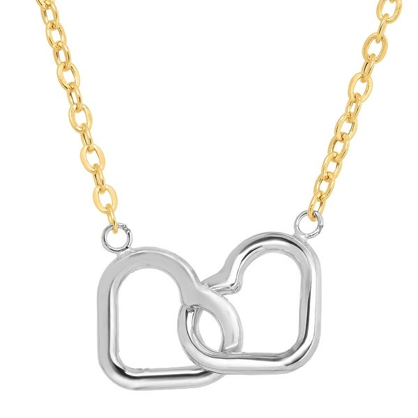 Just Gold Interlocking Hearts Necklace in 10K Two-Tone Gold