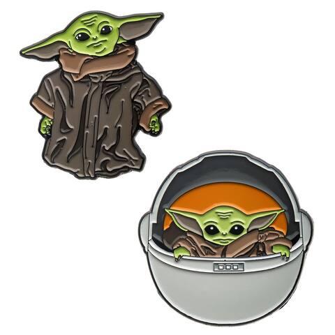 Star Wars Mandalorian The Child Baby Yoda Enamel Pin Bundle Set of 2 - Multi