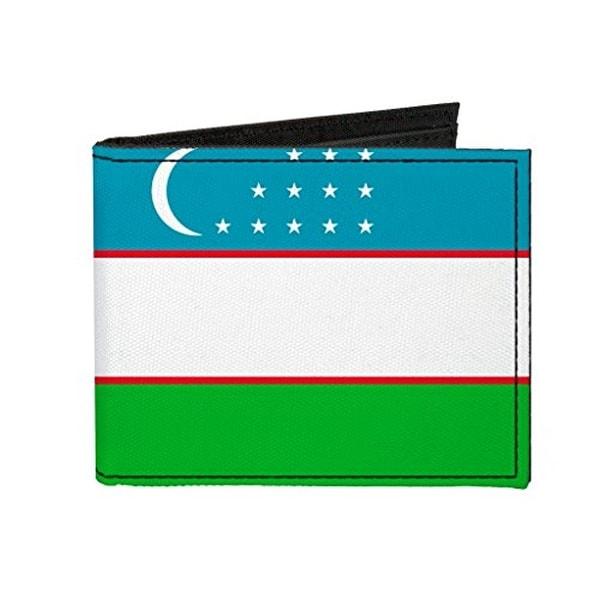 Buckle-Down Canvas Bi-fold Wallet - Uzbekistan Flag Accessory