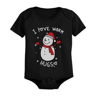 I Love Warm Hugs Snowman Cute Christmas Black Baby Onesie Gifts