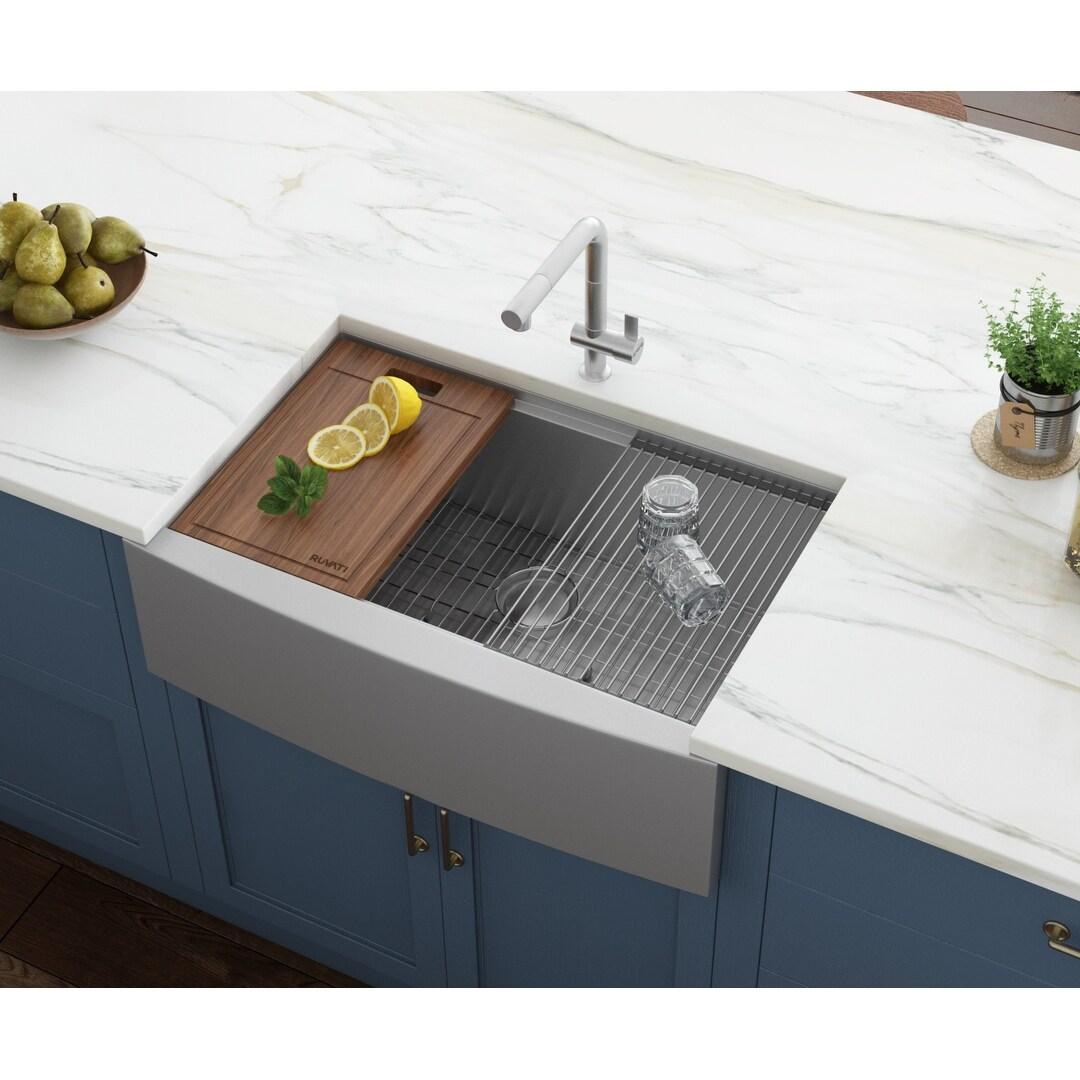 Ruvati 30 Inch Apron Front Workstation Farmhouse Kitchen Sink 16 Gauge Stainless Steel Single Bowl Rvh9100 27 X 16 Overstock 7029900