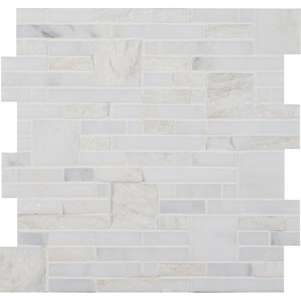 "MSI SMOT-GRE Greecian White - 12"" x 12"" Block Random Mosaic Sheet - Polished Marble Visual - Sold by Carton (10 SF/Carton)"