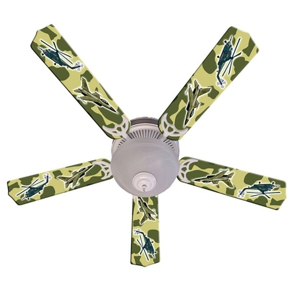 Green Military Fighter Jet Custom Designer 52in Ceiling Fan Blades Set - Multi