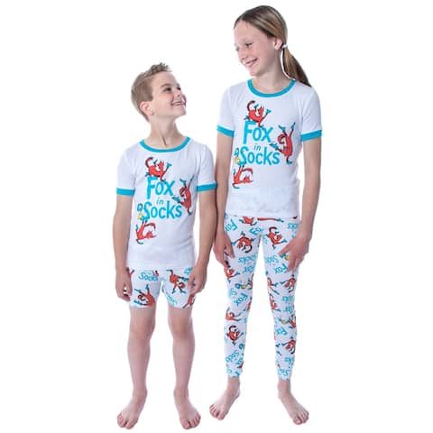 Dr. Seuss Unisex Kids Fox In Socks Shirt Shorts and Pants 3 Piece Pajama Set For Boys or Girls