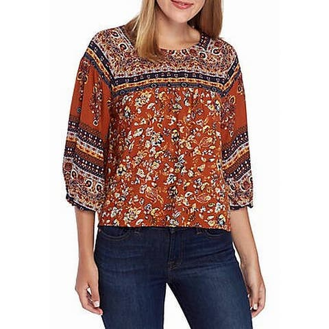 Eyeshadow Womens Blouse Brown Multi Size Medium M Printed 3/4 Sleeve