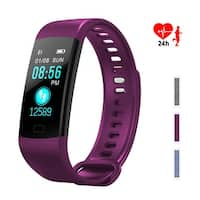 Color Screen Fitness Tracker - IMAGE Bluetooth Waterproof Bracelet w/ Heart Rate Monitor & Step Counter, Purple
