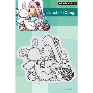 "Penny Black Cling Stamp 4""X6""-Bunny Kisses"