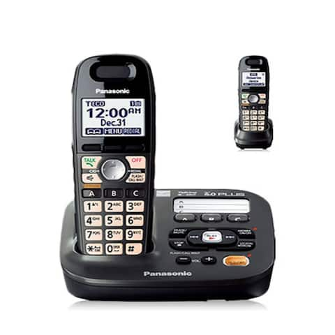 Panasonic KX-TG6592T DECT 6.0 Amplified Sound Cordless Phone with Answering System, Metallic Black