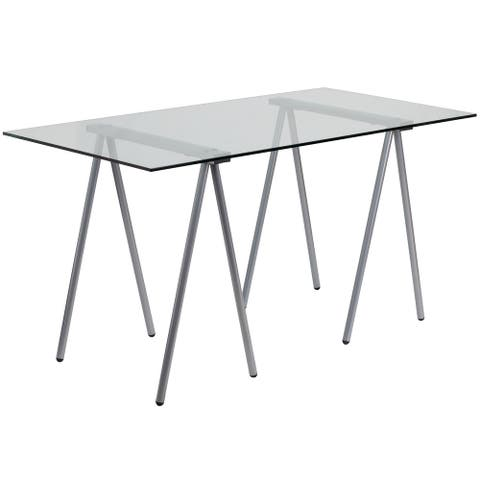 Glass Computer Desk with Silver Metal Frame - Home Office Furniture