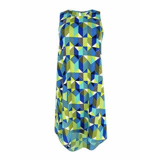 Calvin Klein Women's Sleeveless Printed Shift Dress (Blue, 6) - 6