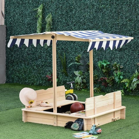 """Outsunny Wooden Kids Sandbox w/ Cover Adjustable Canopy Convertible Bench Seat Bottom Liner - 41.75"""" x 41.75"""" x 47.75"""""""
