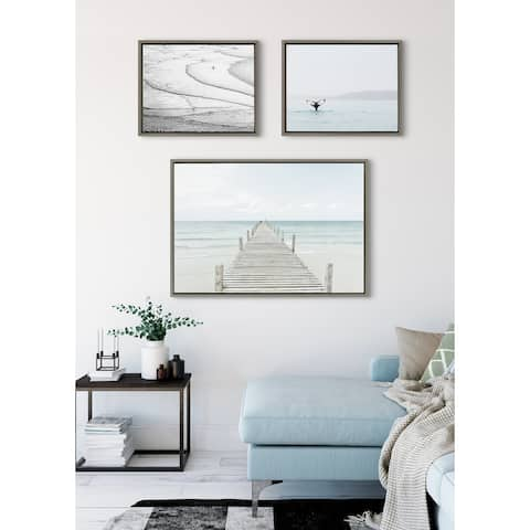 Kate and Laurel Sylvie Ocean Beach Framed Canvas Set - Gray