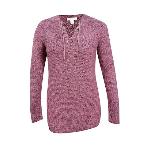 Charter Club Women's Plus Size Marled Lace-Up Sweater - Coral Bloom Combo